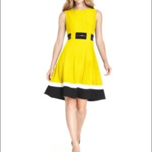 Yellow Belted Calvin Klein Fit and Flare Dress 👗